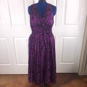 Jane Ashley 2X boho purple floral maxi dress